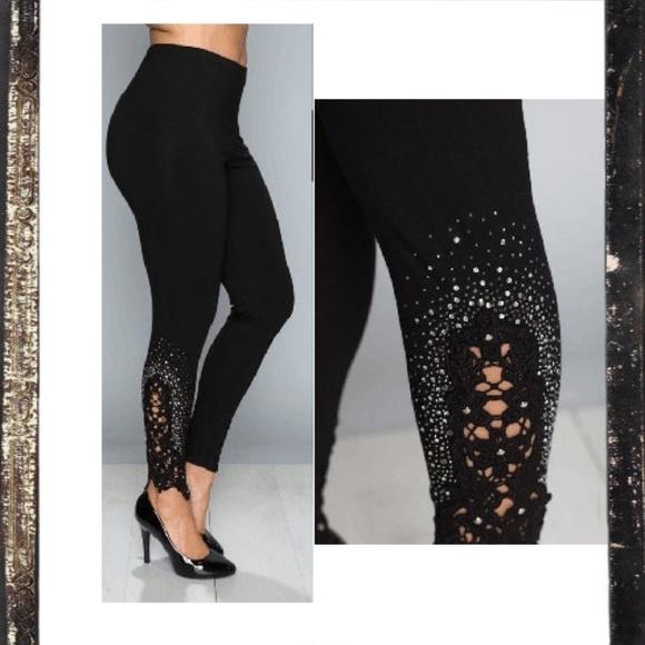 900236152c4bf Vocal Pants | New Black Lace Rhinestone Plus Lace Leggings | Poshmark
